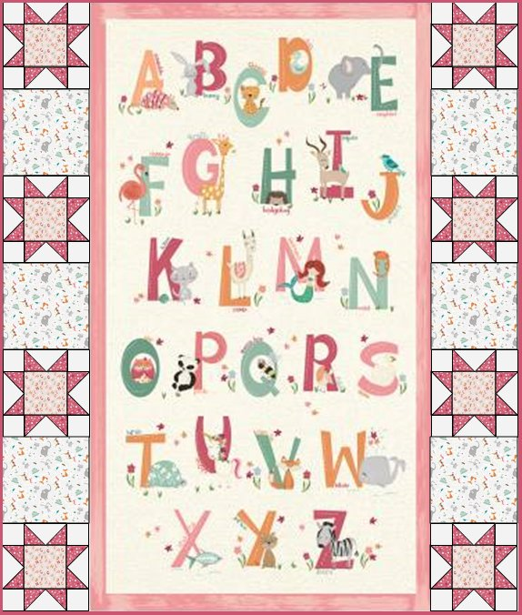 Easy as ABC Animal Quilt Kit - Pink