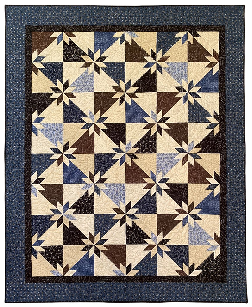 Hunter's Star Blue and Brown Lap Quilt Kit