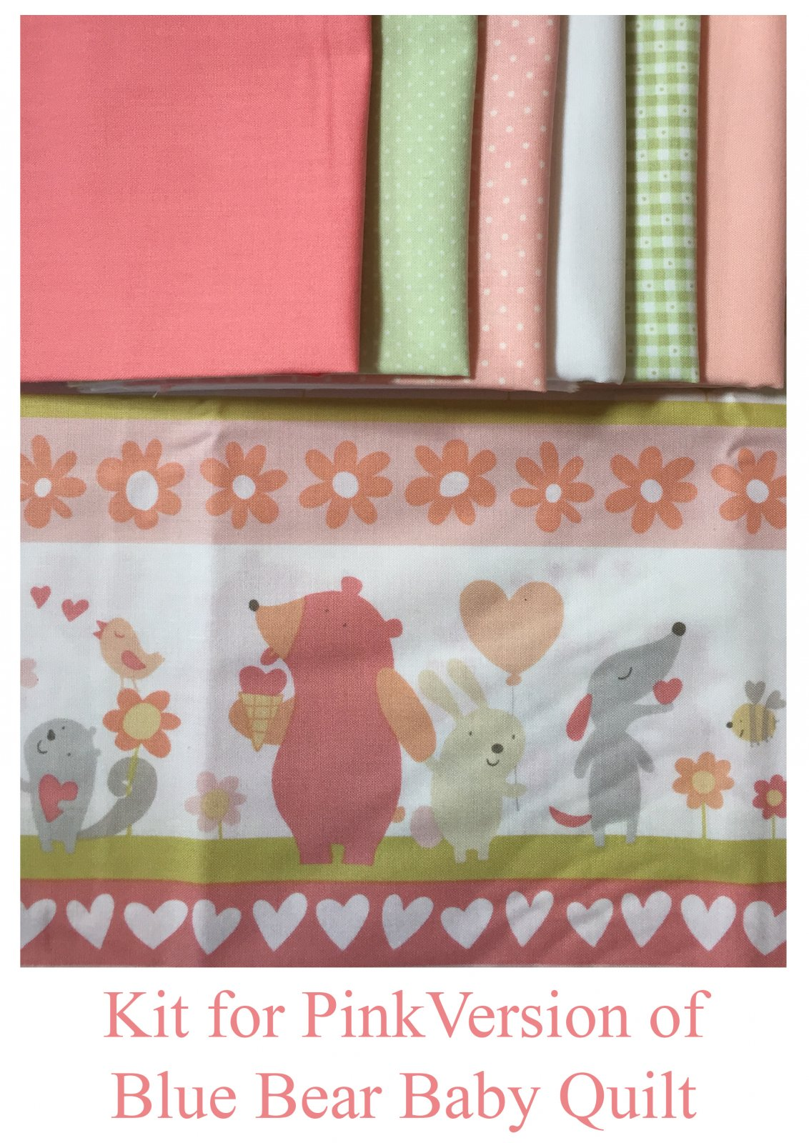 Pink Bear Baby Quilt Kit