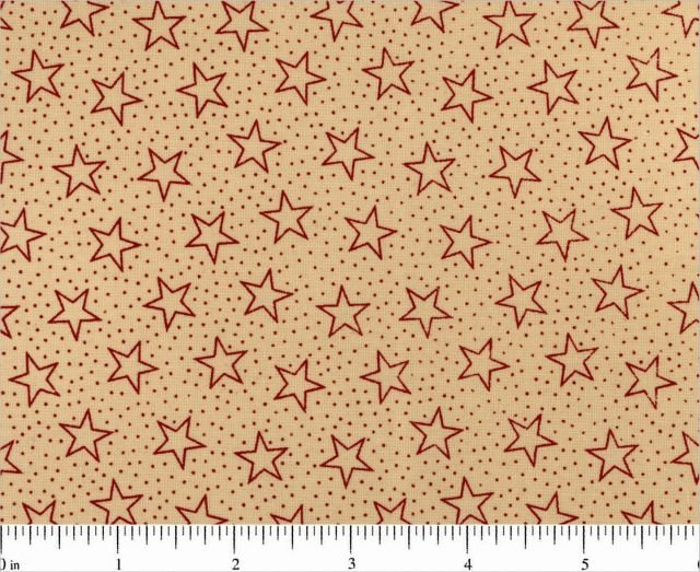 108 Wide Quilt Backing Tan with Red Stars