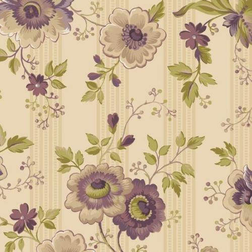 Purple Passion Cream Large Floral