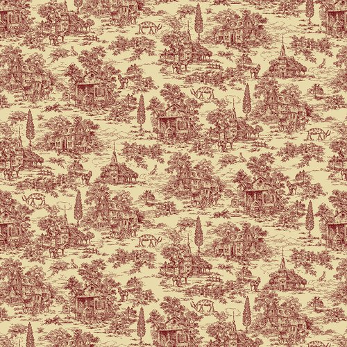 Farmhouse Christmas 108 Wideback Red Toile by Kim Diehl
