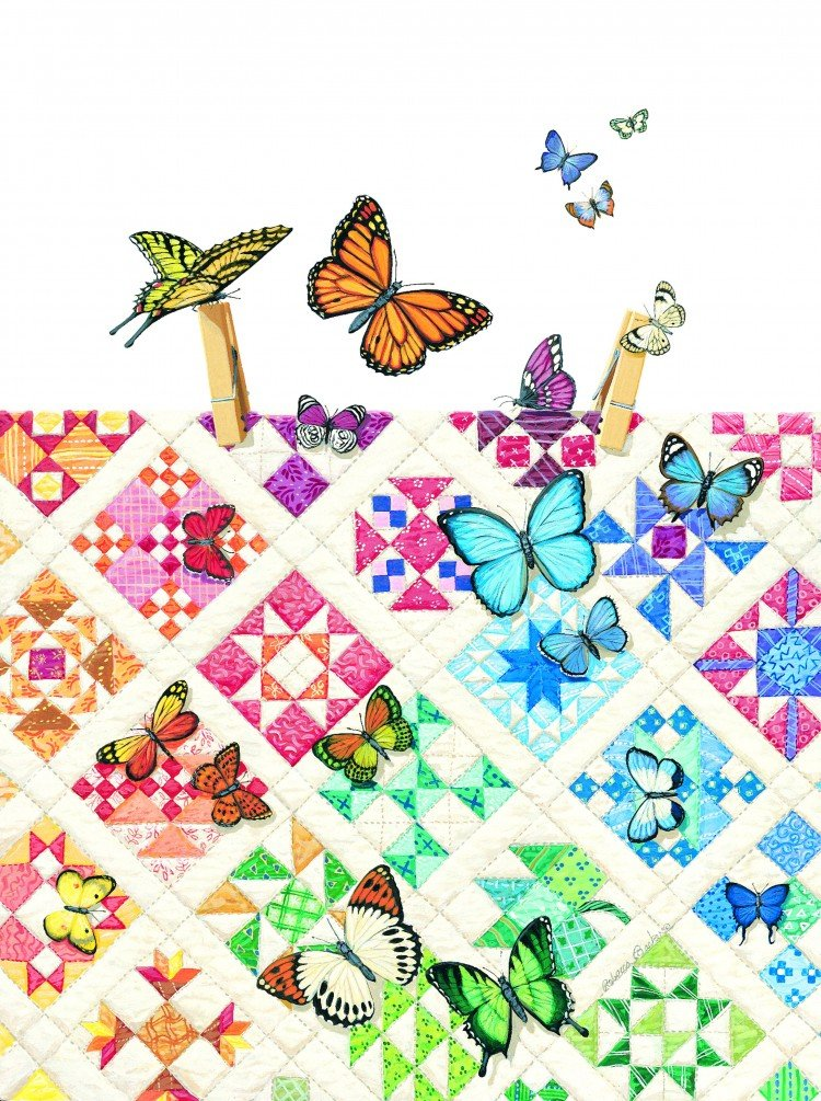 Butterflies on Nine-Patches Quiltscape