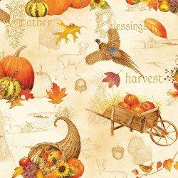Autumn Song- owls pheasants pumpkins on cream