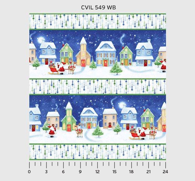 Christmas Village - Christmas village border with santa