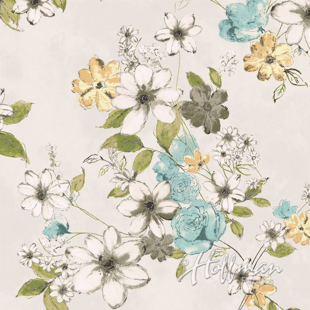 Painted Petals- white w/ green teal gray flwrs silver
