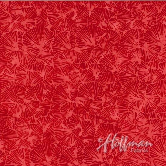Red veined ginko leaf outline on red