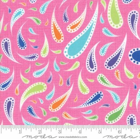 Rainy Day- purple green orange blue paisley on pink
