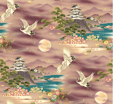 Journey-temple/crane scene on mauve background