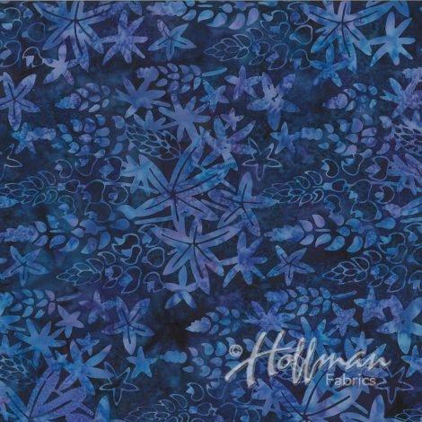 Blue leaves & outlines on blue