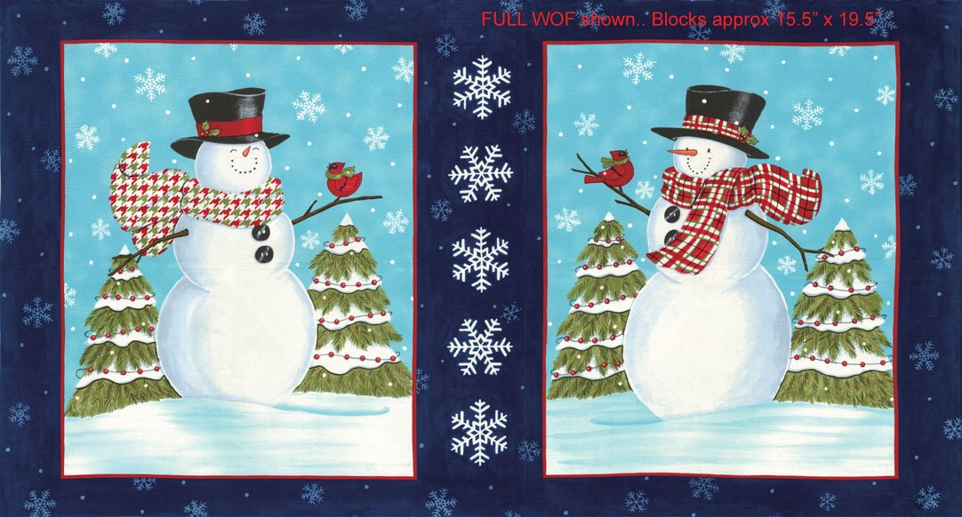 Snow Much Fun - Snowman panel blue