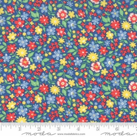 30s Playtime 2017-red/blue/yellow flowers on blue
