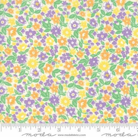 30s Playtime 2017-orange/purple/yellow flowers on white
