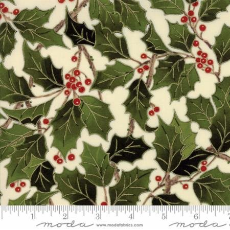 Magnolia Metallics-green holly & red berries on cream
