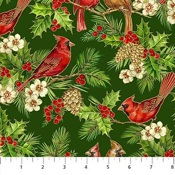 Tis the Season-red cardinals & pine boughs on green