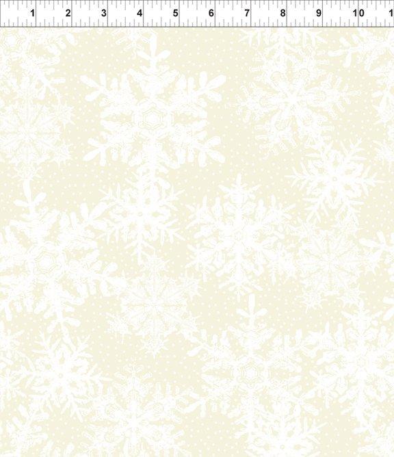 Winter Twist- large white snowflake on off-white