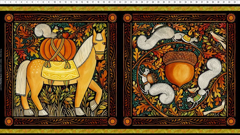 The Four Seasons-Horse & squirrel fall panel