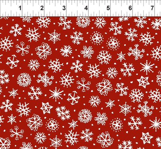 Four Seasons white snowflakes on red