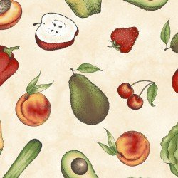 From the Farm-fruits & veggies on cream