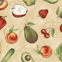 From the Farm-fruits & veggies on tan