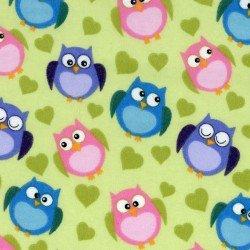 Graffiti- pink, purple, blue owls on green heart background
