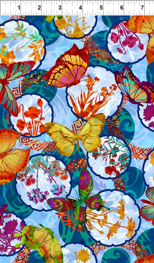 Dreamscapes II - flowers in medallions & butterflies on blue