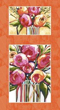 Susannah Bee - Pink & Orange flowers in a vase 24panel