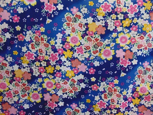 Multi floral Asian print on navy background