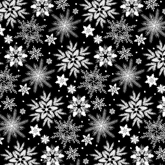 Holiday Homecomings - white snowflakes on black
