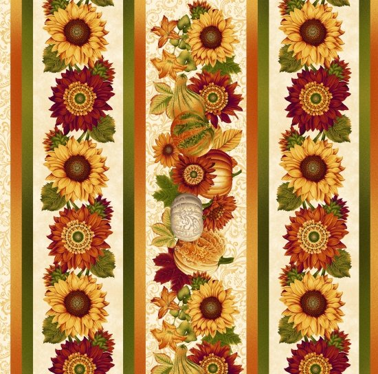 Harvest Gathering - gourd & flower fall border stripe