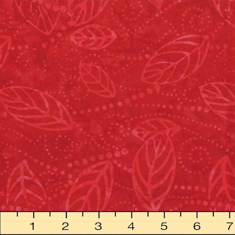 Floating Leaves - red leaf outline on red