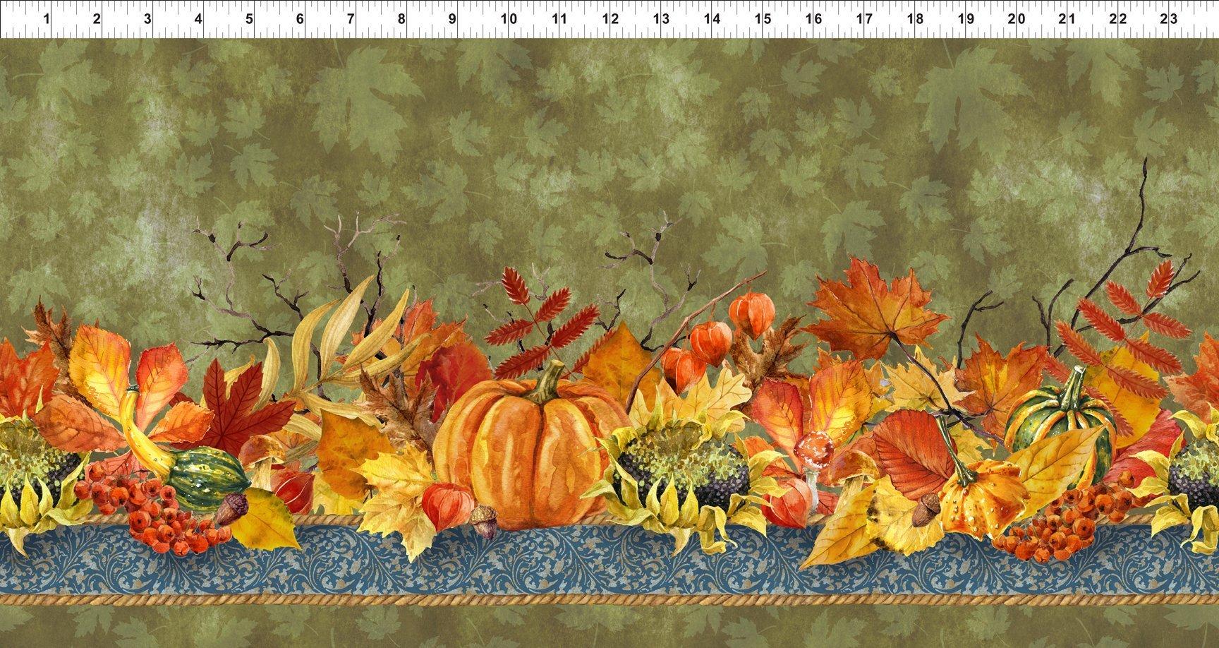 Our Autumn Friends - pumpkin & leaf border stripe