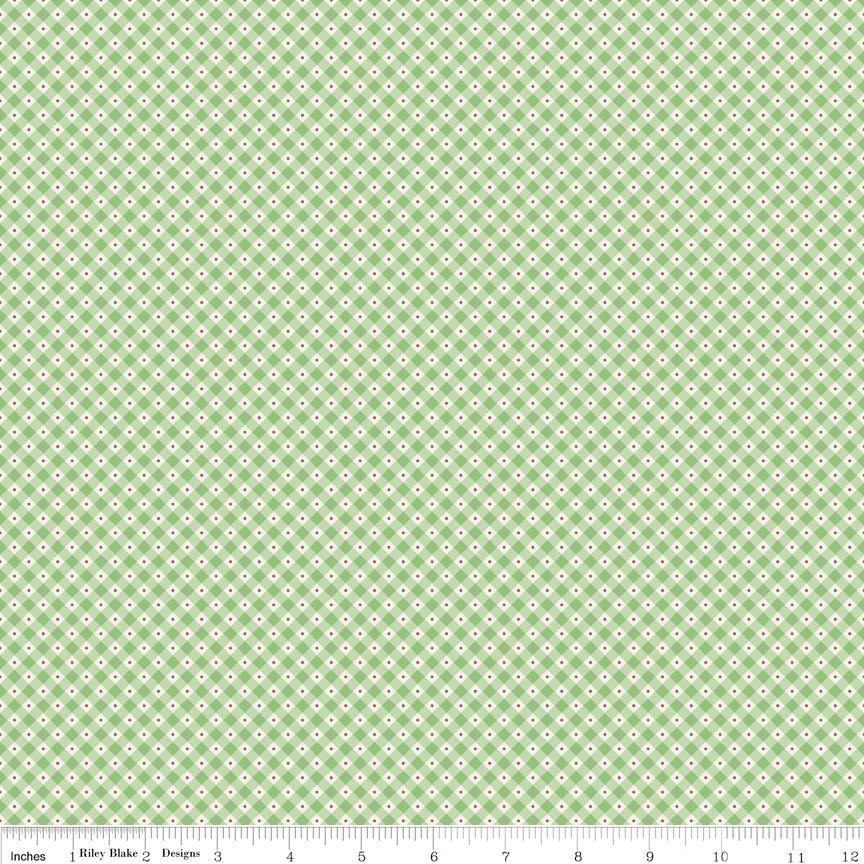 Mon Beau Jardin- green & white check