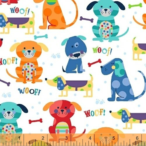 Cubby Bear - brightly colored puppies on white