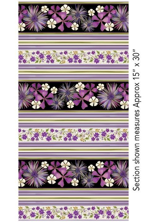 Enchanted Garden - purple floral stripe
