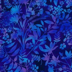 Aflutter - blue/purple leaf silhouettes on navy