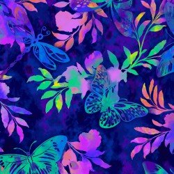 Aflutter - multi colored dragonflies, butterflies & flowers on navy