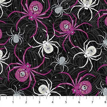 Elegantly Frightful - purple & gray spiders on black