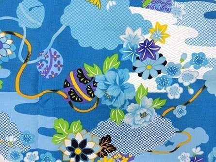 Blue and yellow asian floral & ball print