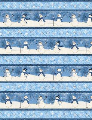 Welcome Winter - snowmen border stripe