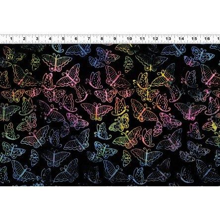 Batik Menagerie - multi butterflies on black