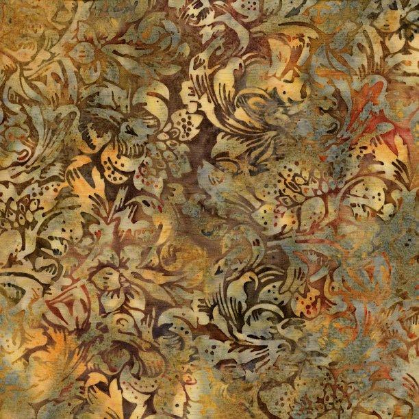Vintage Morris - cream flowers on brown.