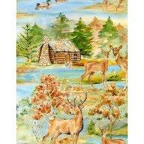 Deer Meadow - deer family and duck scene