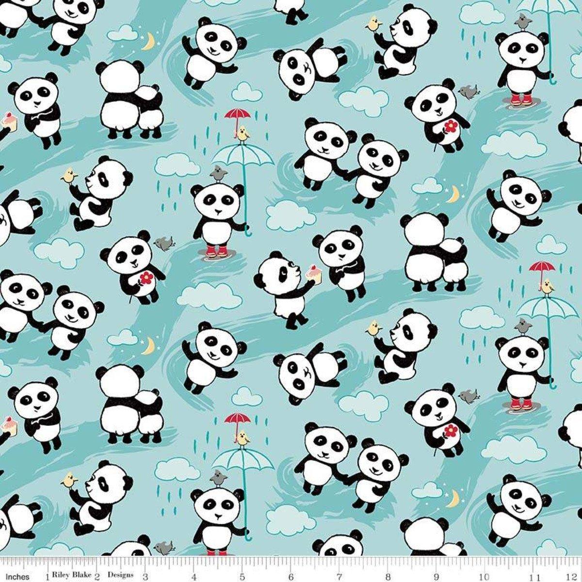 Designer Flannel - Panda Love - tossed pandas aqua