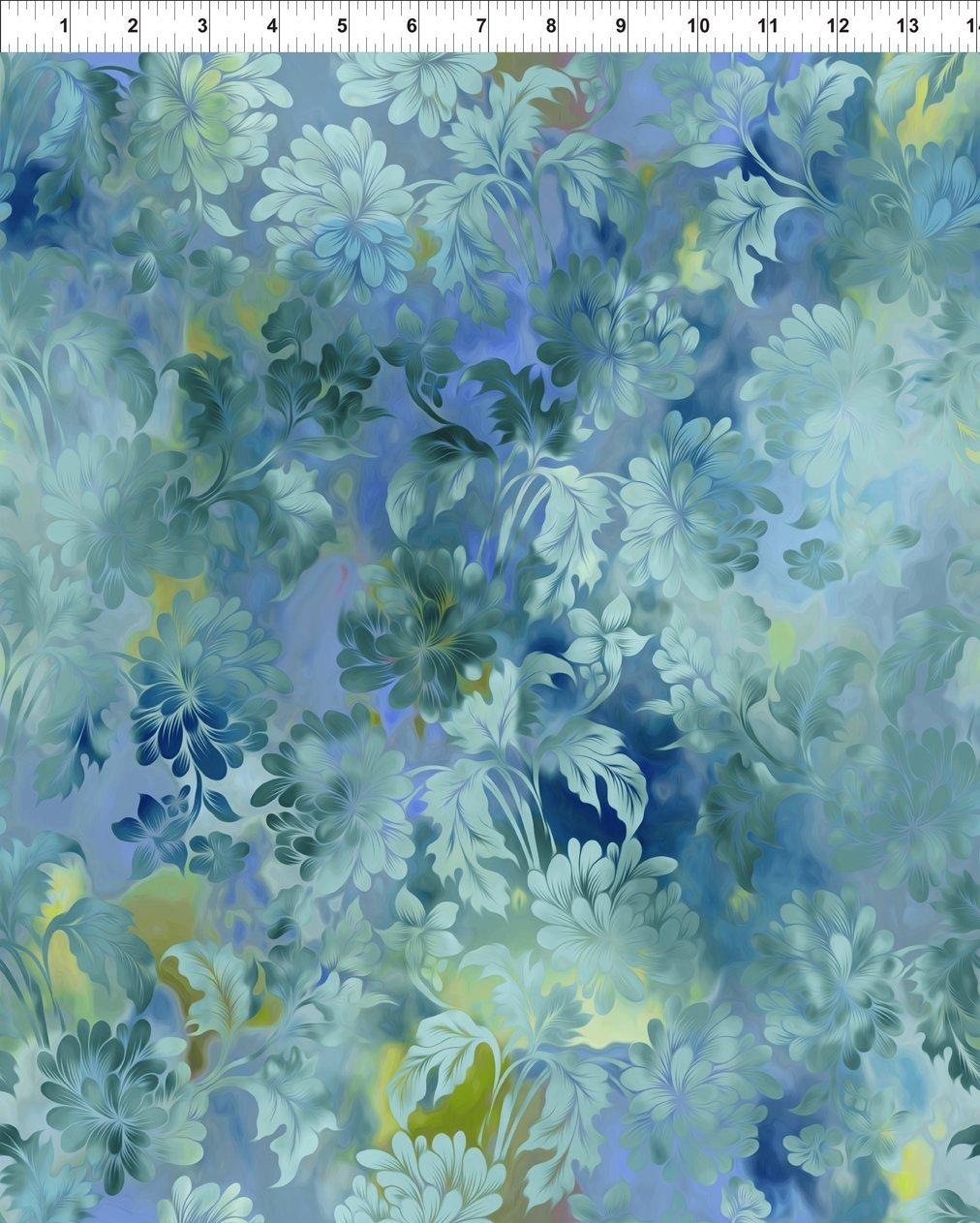Diaphanous - colorwashed aqua flowers on blue