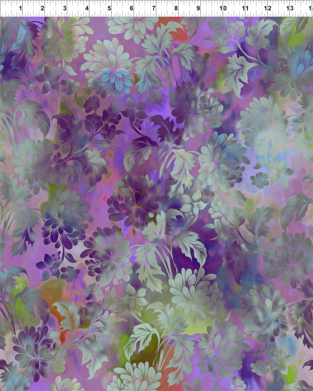 Diaphanous-aqua flowers on multi colorwash background