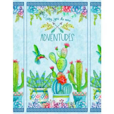 Humming Along - Hummingbird & Cactus panel
