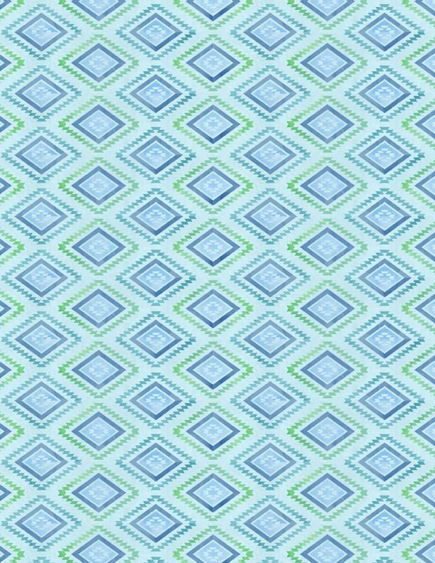 Humming Along - blue/green diamond pattern