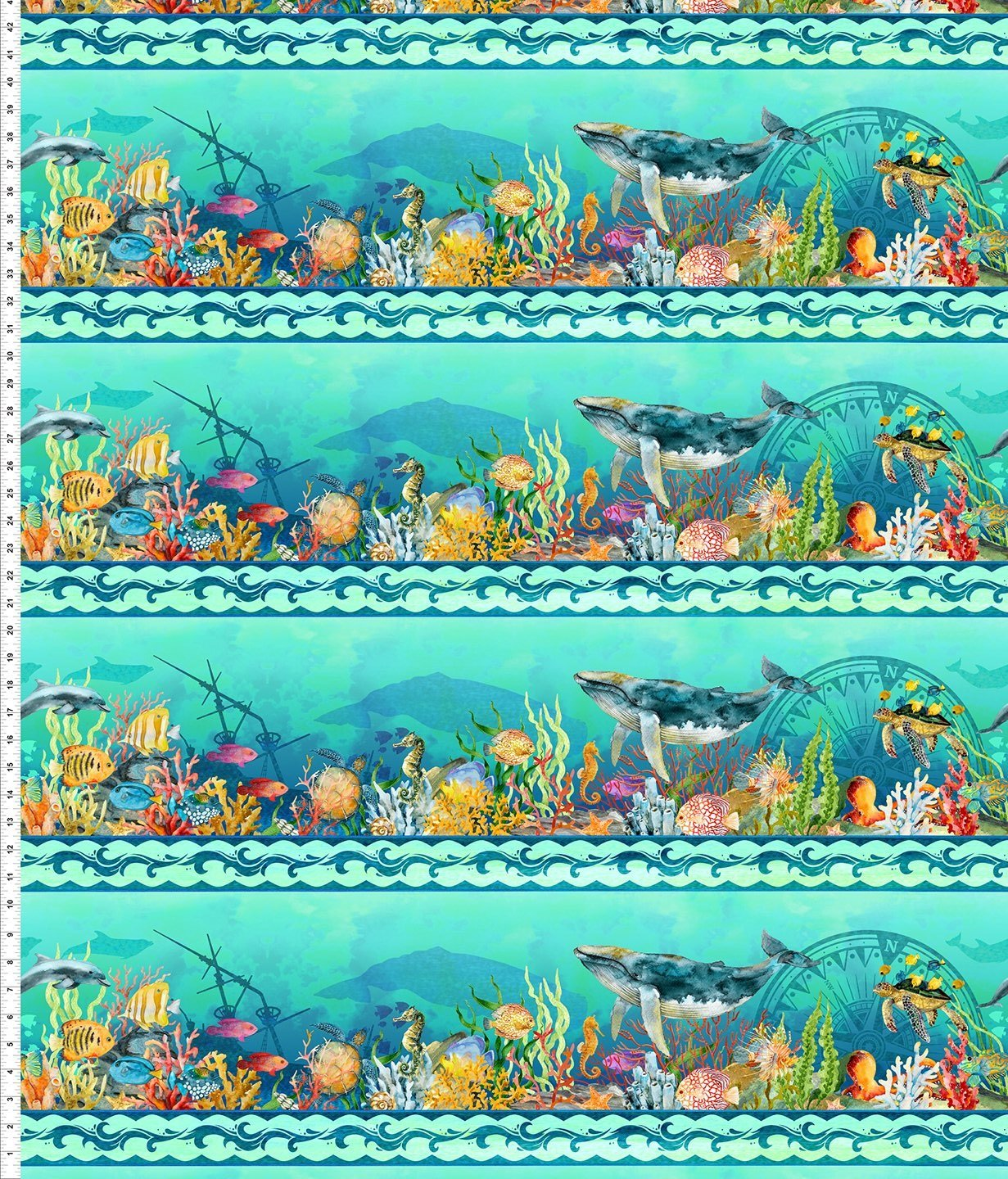 Calypso-sealife in aqua ocean border stripe