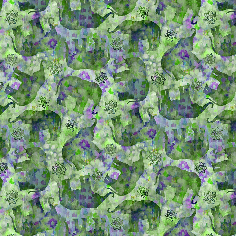 Bohemian Dreams - green elephants